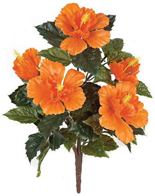 21 Inch Outdoor Hibiscus Bush - Red or Orange Color