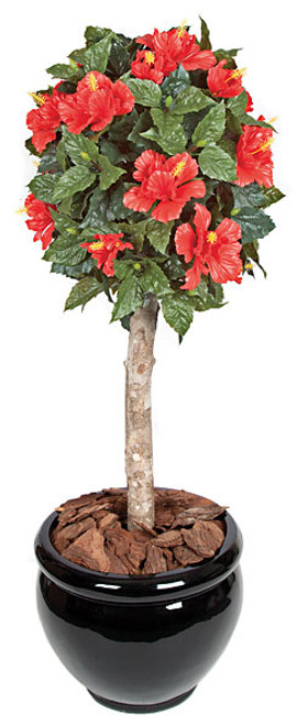 3.5 Foot Polyblend Hibiscus Ball Topiary