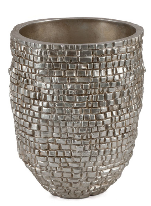 10 Inch Brushed Silver Flower Pot