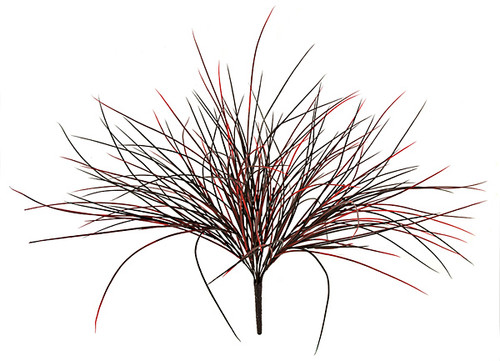 24 Inch Plastic Grass Bush - Tutone Green or Red/Black