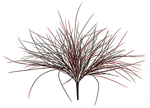 24 Inch Plastic Grass Bush - Tutone Green or Red/Black