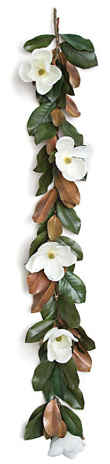 70 Inch Magnolia Garland - White