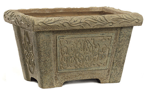 12.5 Inch Fiberglass Rectangle Planter - Cream/Stone