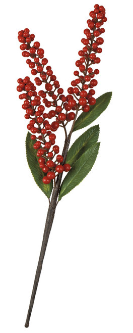 17 Inch Ilex Berry Spray with Green Leaves