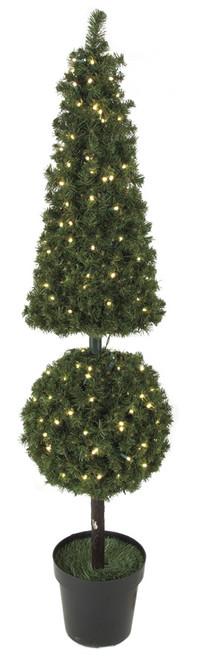 5 Foot PVC Pine Pyramid/Ball Topiary