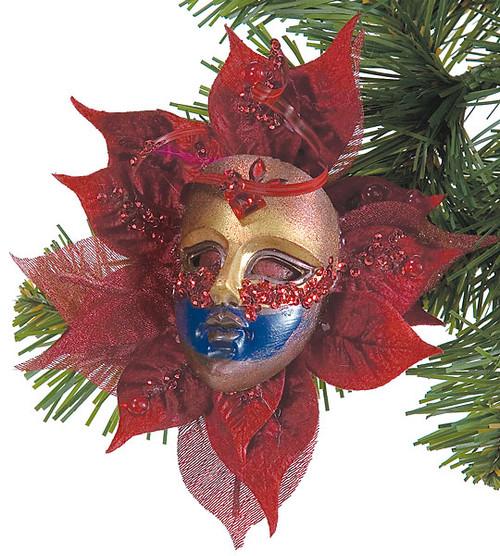 6 Inch Poinsettia Mask w/Clip