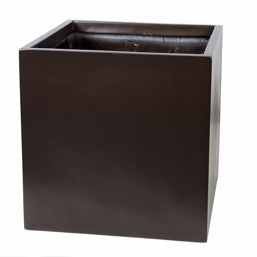 19 x 19 x 19 Inch Square Planter - Gloss Black, Charcoal, Bronze