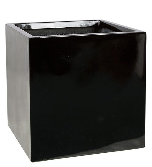 15  x 15 x 15 Inch Square Planter - Gloss Black, Charcoal, Bronze
