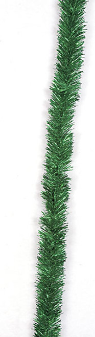 15 Foot Tinsel Garland w/ Wire- Green