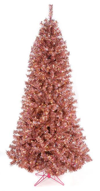 7.5 Foot Rose Gold Tinsel Slim Tree