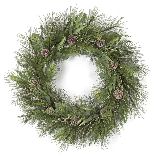 36 Inch Sugar Pine Wreath with Pine Cones