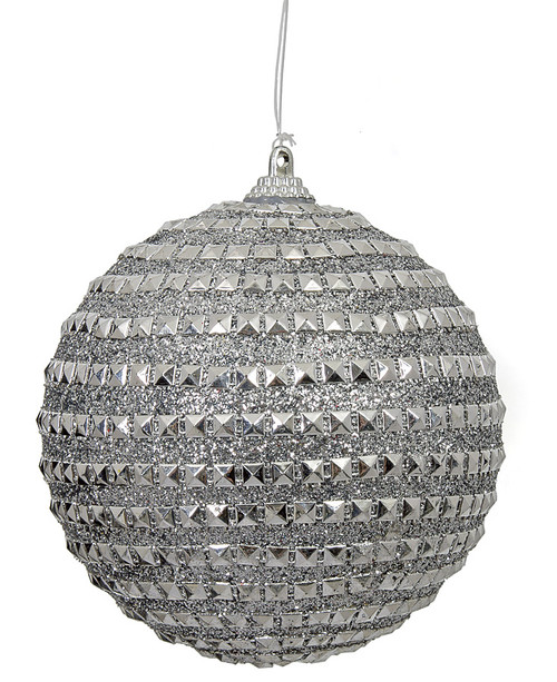 4 Inch Silver Beaded Ball Ornament