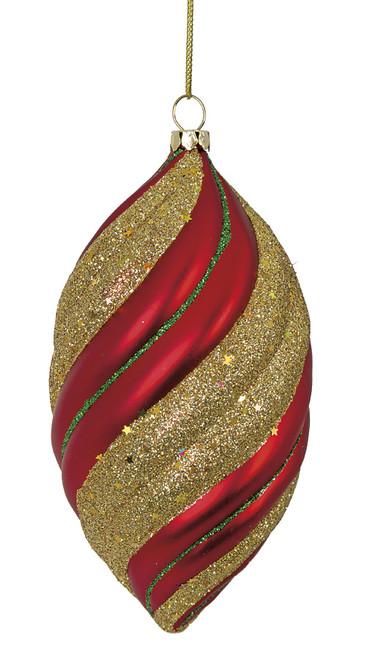 5.5 Inch Matte Red Glitter Finial