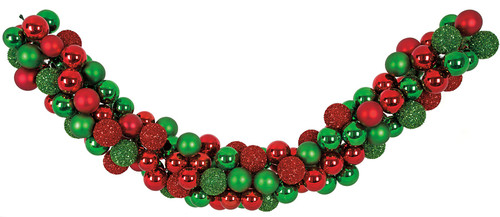 6 Foot Mixed Ball Garland - Red/Green