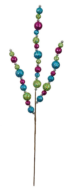 21 Inch Glitter Ball Spray - Red/Green , Blue/White, Multi-Color