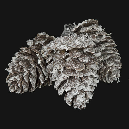 4 Inch Frosted Glittered Pine Cone Ornament (3 Per Bag)