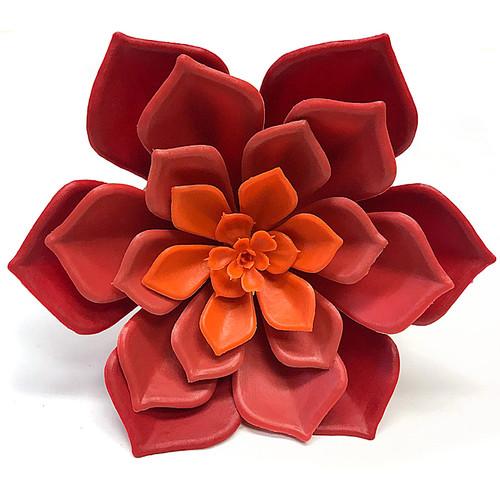7 Inch Polyblend Echeveria Plant - Red/Orange