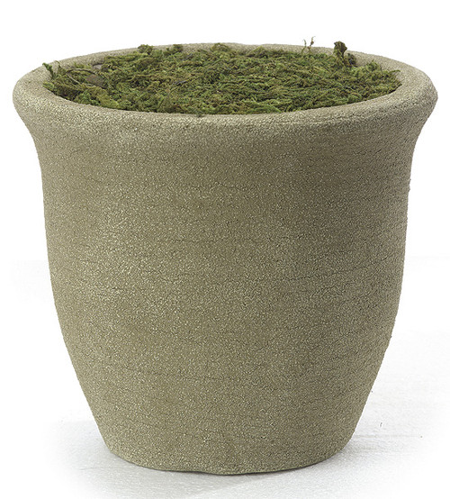 6 Inch Round Smooth Foam Pot with Moss - Sand