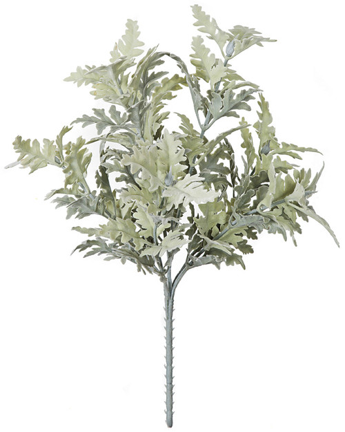 16 Inch Flocked Dusty Miller Bush x 7