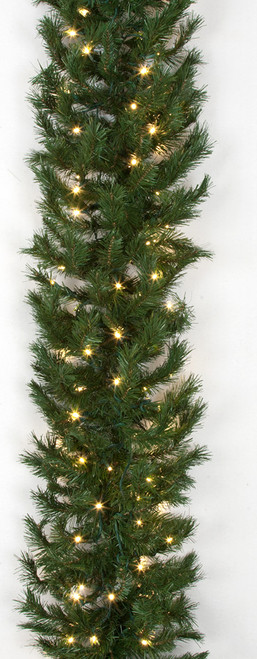 9 Foot x 16 Inch Westford Pine Garland with Clear Lights