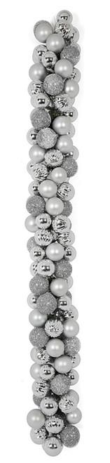 6 Foot Mixed Ball Garland - Silver