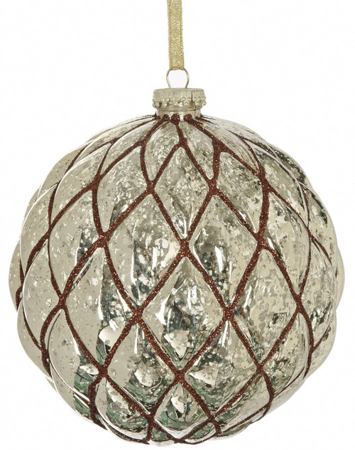 "6"" Shiny Grid Ball Ornament - Gold/Brown"