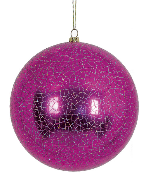 5.5 Inch Shiny Ball Ornament with Crackle Finish