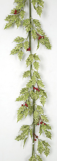 72 Inch Glittered Holly Berry Garland