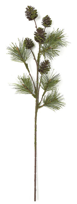 32 Inch Plastic Moss Pine Cone Spray with Leaf Vine Wrap