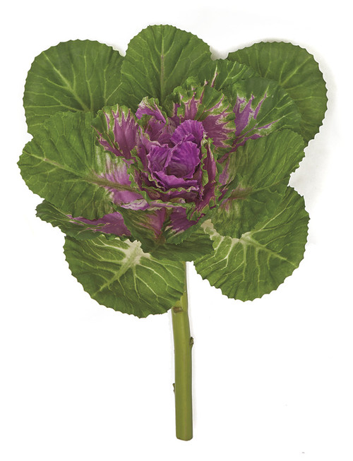 12 Inch Natural Touch Kale Plant - Green/Purple or Green with Cream