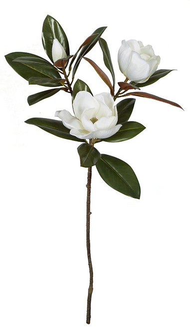 35 Inch Natural-Look Large Magnolia Stem with White Flowers