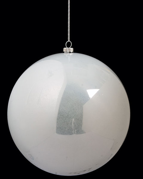 6 Inch Pearlized Off White Ball Ornament
