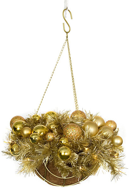 14 Inch x 27 Inch Hanging Gold Champagne Mixed Basket