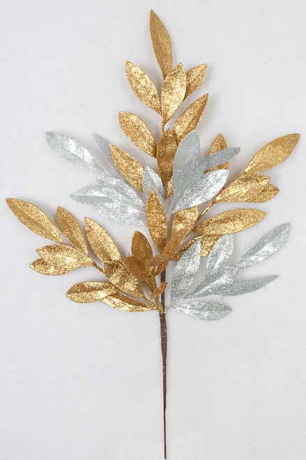 23 Inch Gold and Silver Glitter Bay Leaf Spray  (Second Stock)