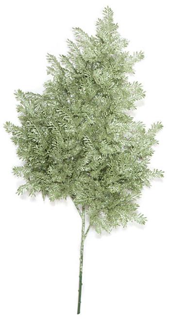 32 Inch Glittered Hemlock Spray - Silver/Green
