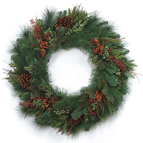 30 Inch Mixed Pine WreathPine Cones/Red Berries Juniper Berries/TwigsBlue Tips