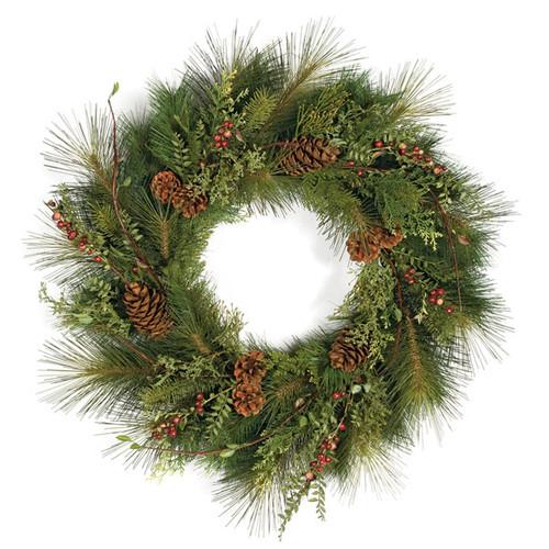 "30"" Sugar Pine wreath Pine Cones/Crab Apples"