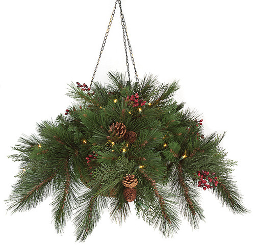 15 Inch Hanging PVC Pine Basket - Battery Operated