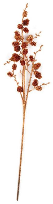 27 Inch Glittered Pine Cone Spray Copper