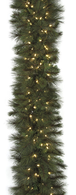C-160104 9' Anchorage Pine Garland  with LED Lights