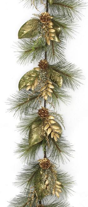 6 Foot Glittered Sugar Pine Garland - Green/Gold