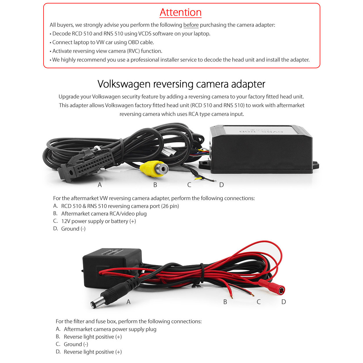 Direct Fit Aftermarket Rns510 Reversing Camera Adaptor For Vw Obd Wiring Larger More Photos