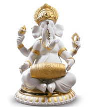 Lladro MRIDANGAM GANESHA (GOLDEN RE-DECO)  01009278 / 9278