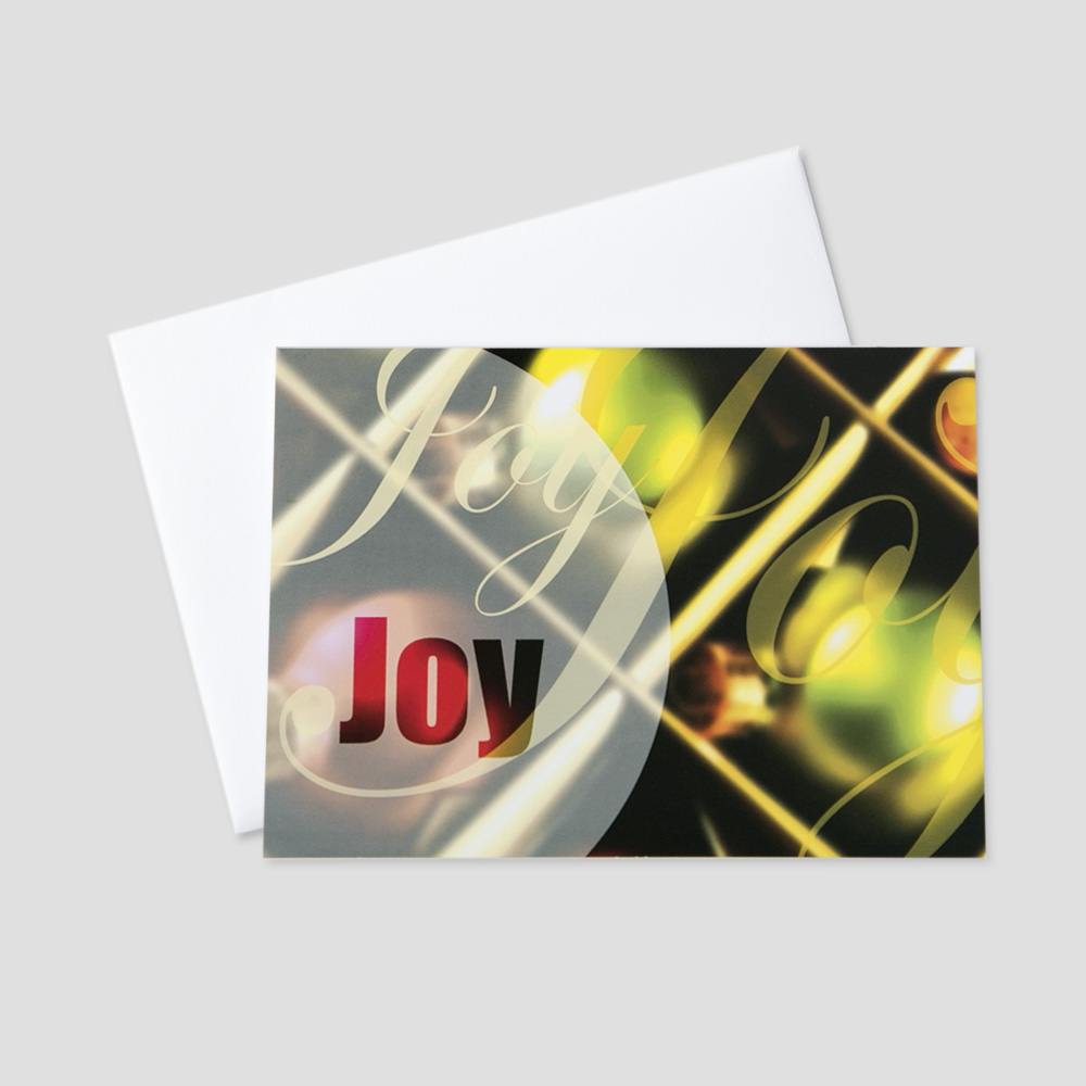 Company Holiday greeting card with an ornamental background and joy messages written in golden colored script multiple times