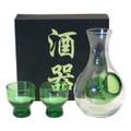 Glass Sake Set Green