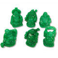 Set of 6 Lucky Laughing Buddha Statue Jade Color