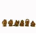Set of 6 Lucky Laughing Buddha Statue Gold Color