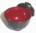 Plastic Soup Bowl w/ Lid Black Red