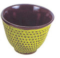 Hobnail Cast Iron Teacup Lime Yellow