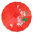 Red Oriental Parasol 32in